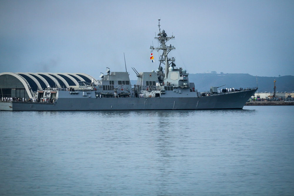 Warship leaving San Diego Bay.