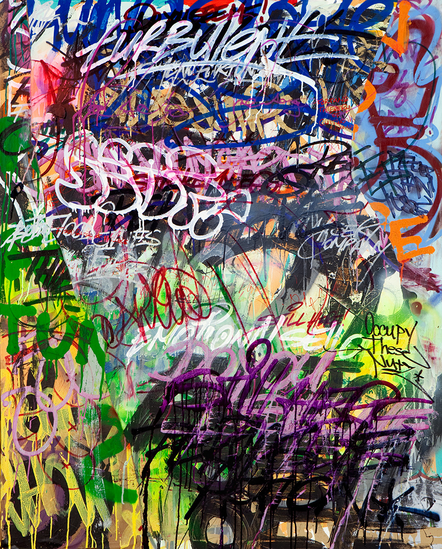 Occupy These Nutz,  Mixed Media on Canvas, 5ft x 4ft  ©2011-2012 Mint&Serf with Jacuzzi Chris and Pablo Power