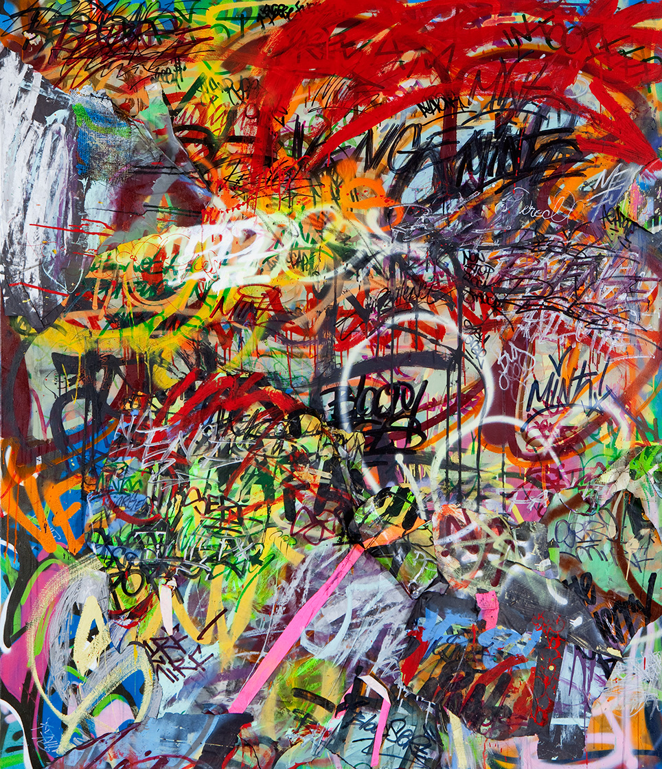 Damages,  Mixed Media on Canvas, 6ft x 7ft  ©2011-2012 Mint&Serf with Jacuzzi Chris and Pablo Power