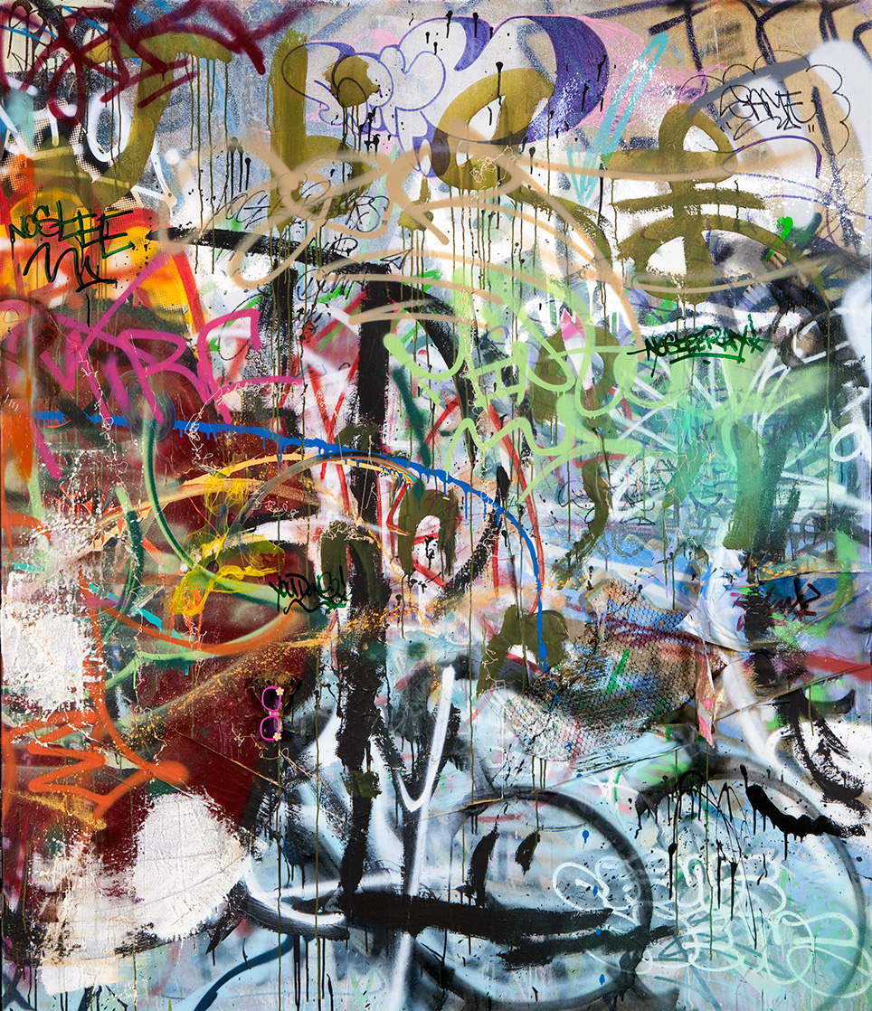 No Stee,  Mixed Media on Canvas, 6ft x 7ft  ©2011-2012 Mint&Serf with Jacuzzi Chris and Pablo Power