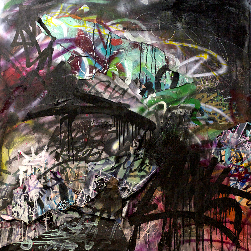 Paradise Lost,  Mixed Media on Canvas, 42in x 42in  ©2013 Mint&Serf