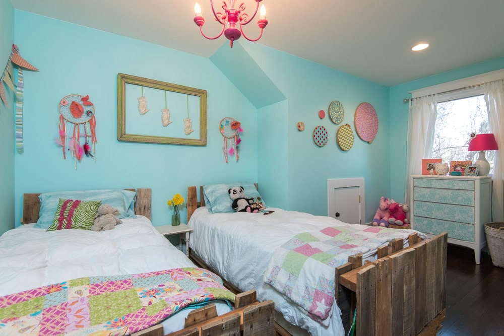 Farmhouse colorful girls bedroom