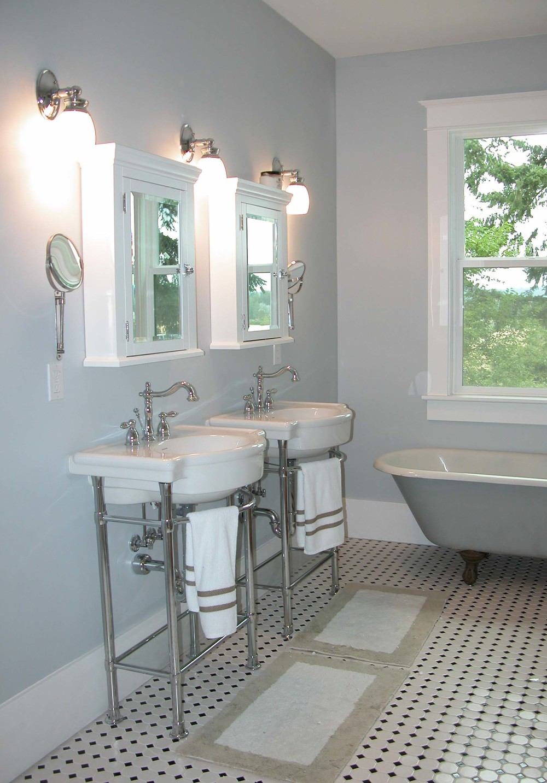 DIY farmhouse bathroom remodel vintage style tile