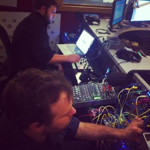 Nadir (Alex White and Ben Byrne) live on New Weird Australia, FBi Radio. Photo Credit: Stuart Buchanan.