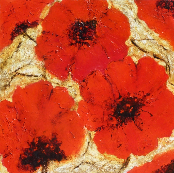 Oriental Scarlets Acrylic 40 x 40 Sold