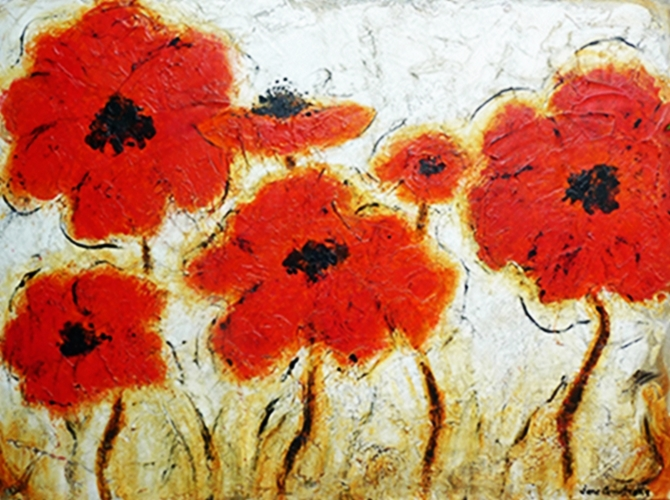 Playful Poppies 36 X 48  Sold