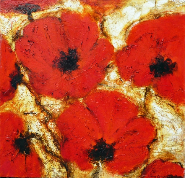 Passionate Poppies 40 x 40 Sold
