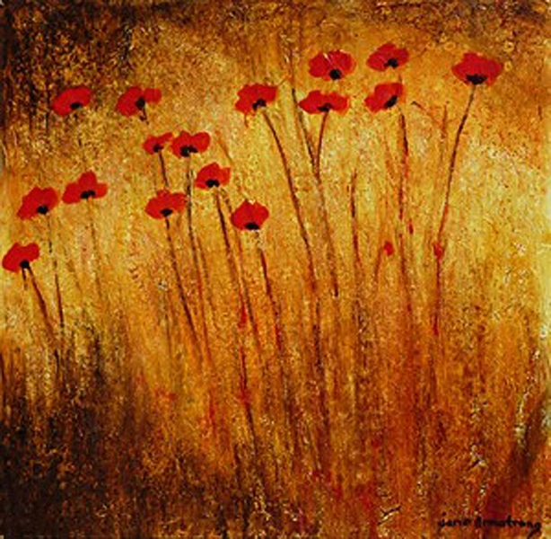 Field of Wild Poppies Acrylic 40 x 40 Sold
