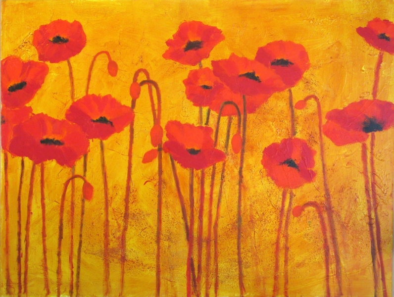Poppy Love Acrlyic 36 x 48 Sold