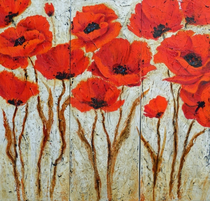 Poppy Faces Acrylic 36 X36 triptych Sold
