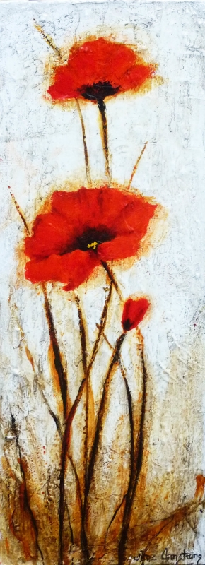 Three Poppies Acrylic 36 x 12 Sold