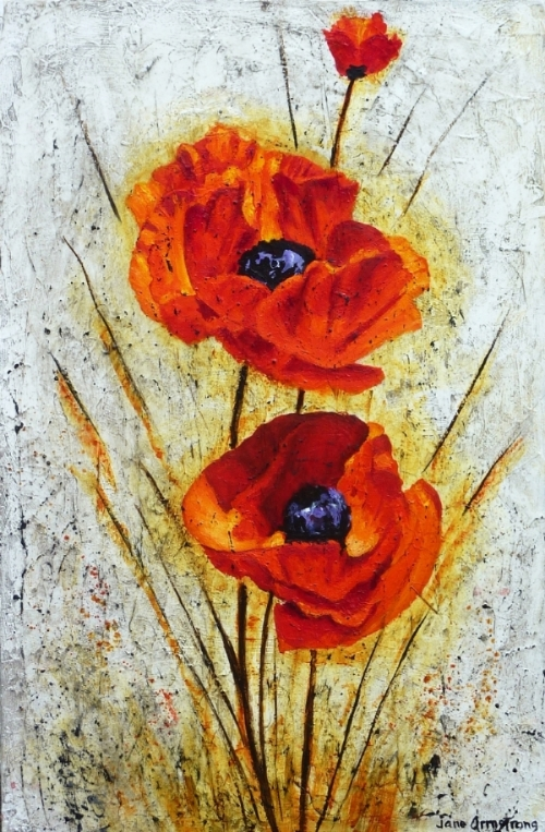 Poppy Panache Acrylic 36 x 24 SOLD