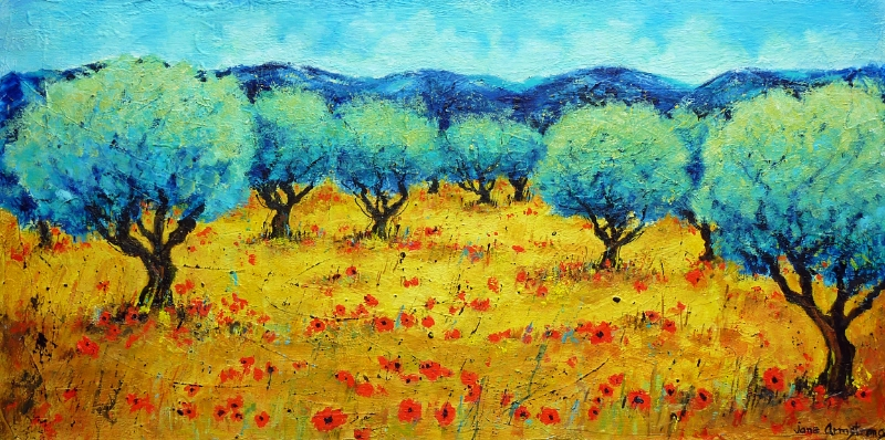 Where the Poppies Grow Acrylic 24 X 48  SOLD