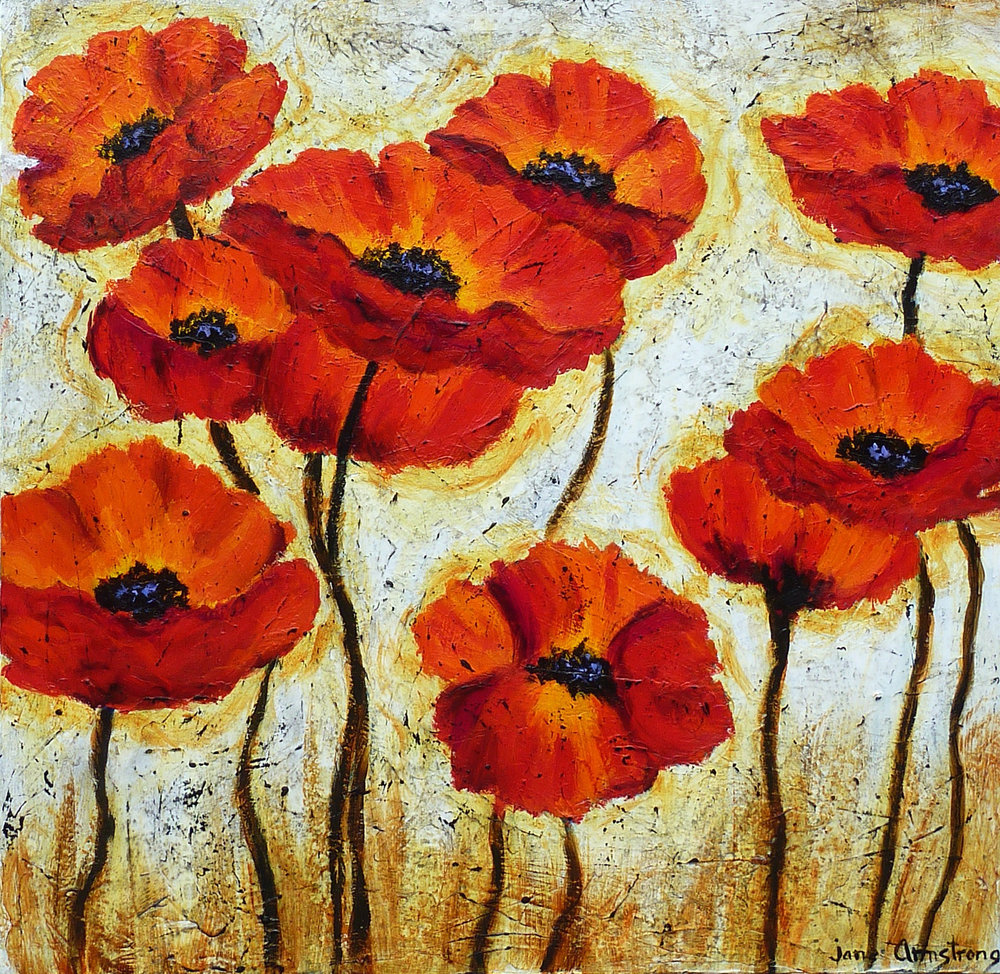 Poppy Family Acrylic 40 x 40 SOLD