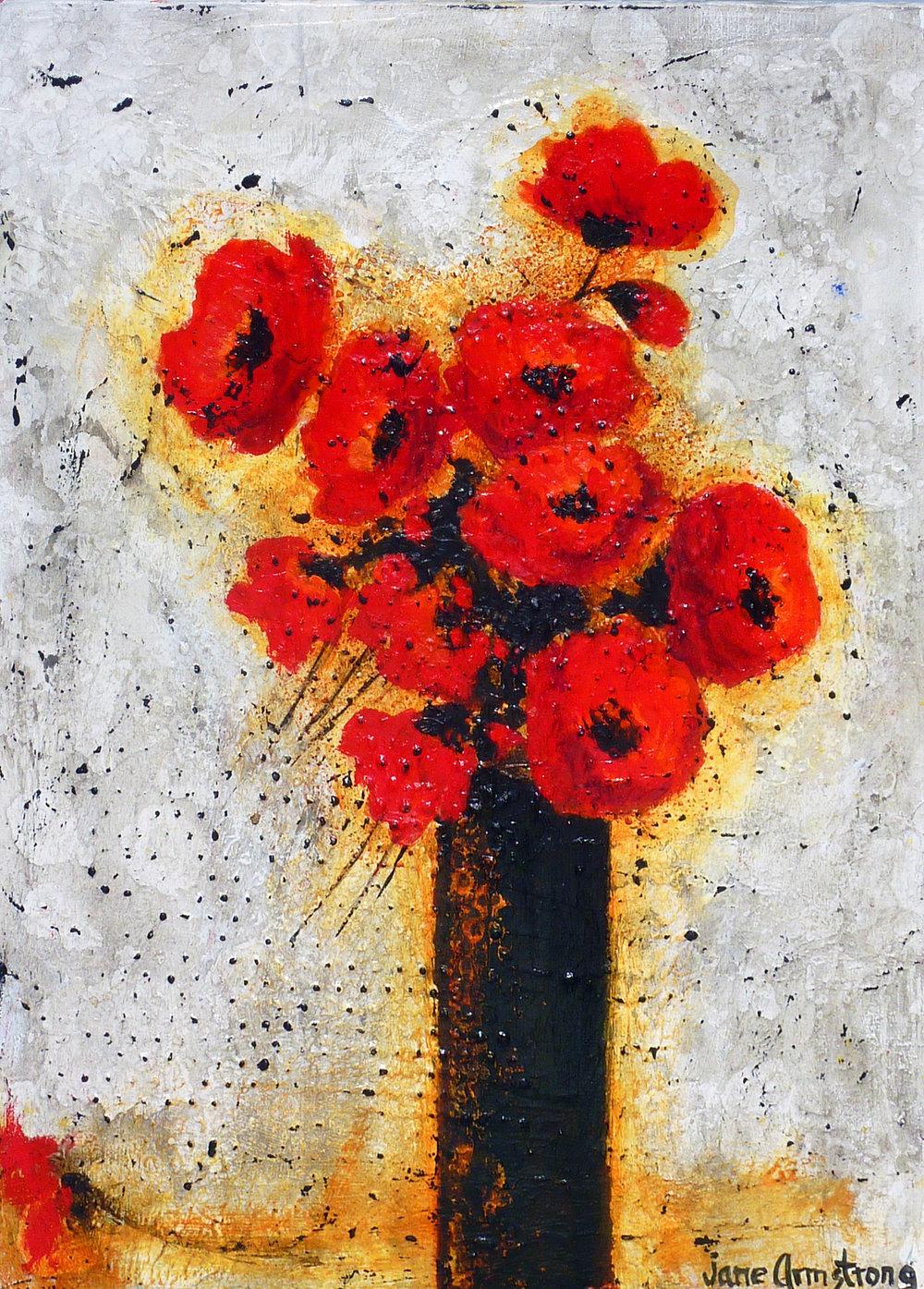 Cherry Reds in Vase Acrylic 24 x 18