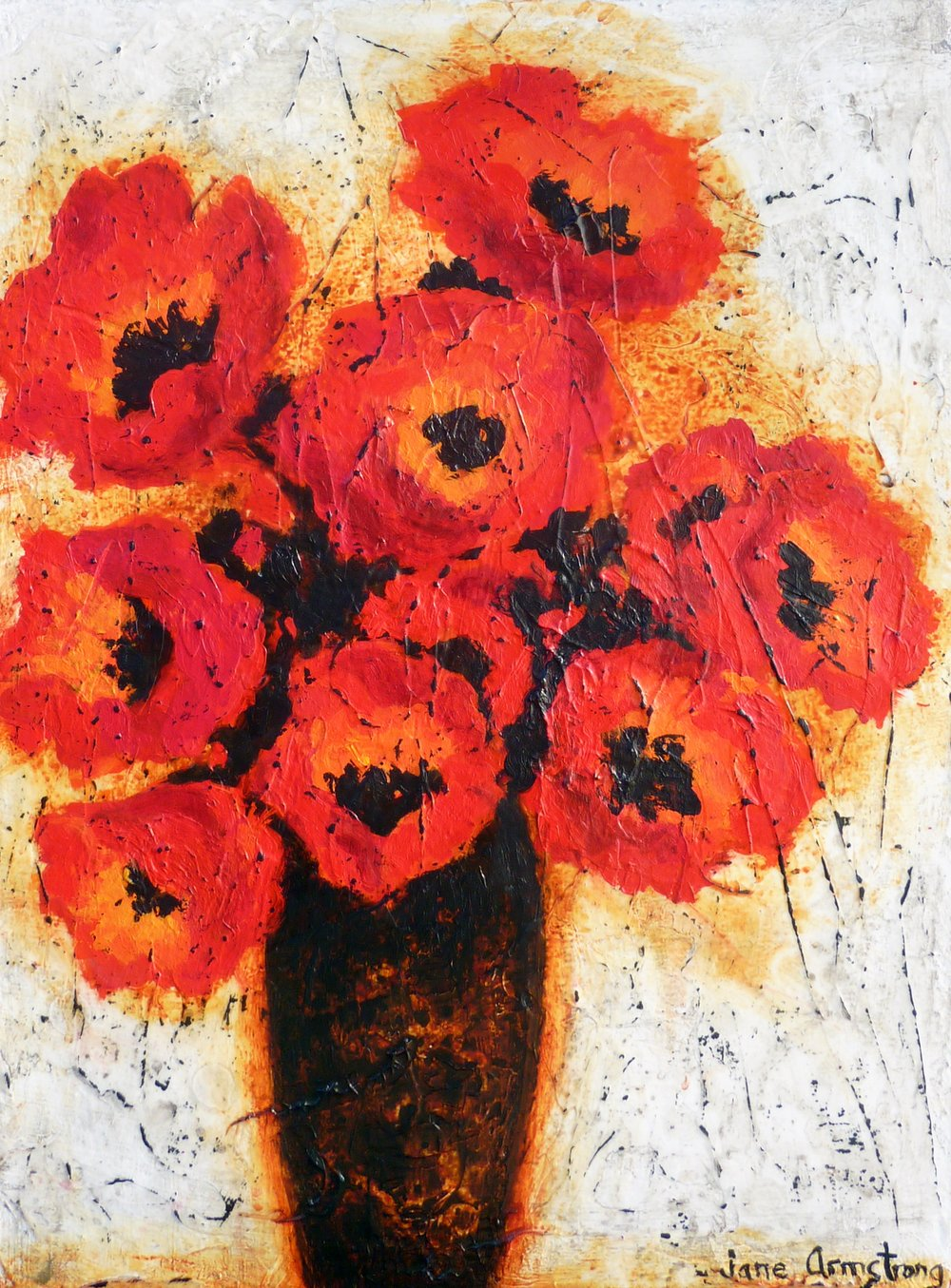 Vase of Red Matadors Acrylic 24 x 18