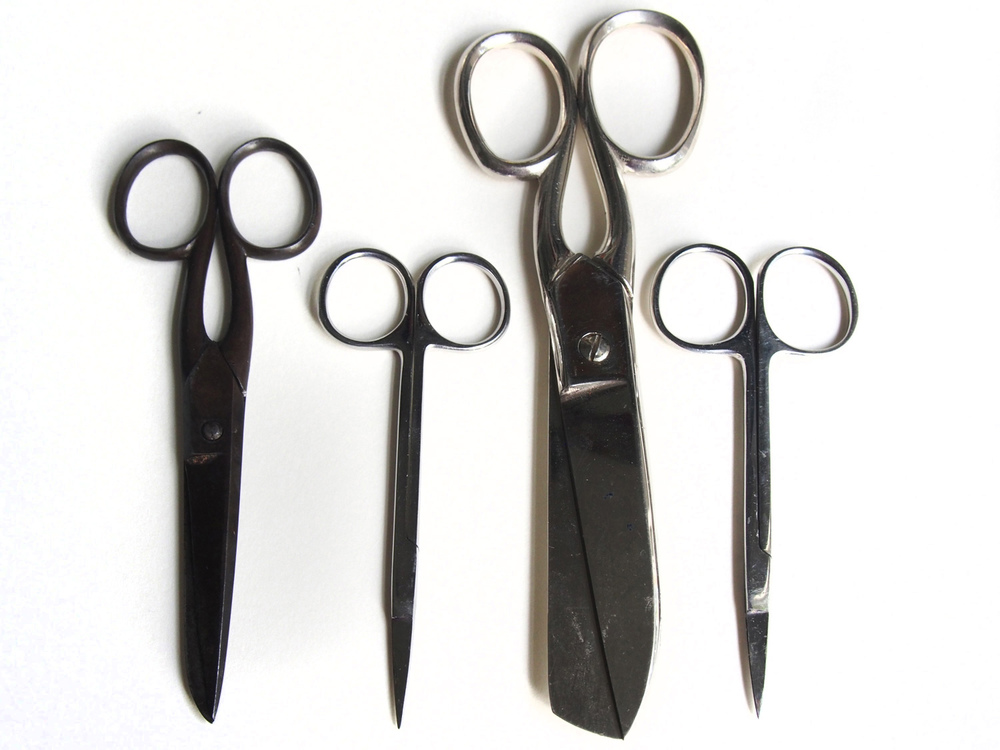 Tiny scissors also borrowed from Dad. The big ones from Maureen, and the middle-sized ones from another bookbinder.