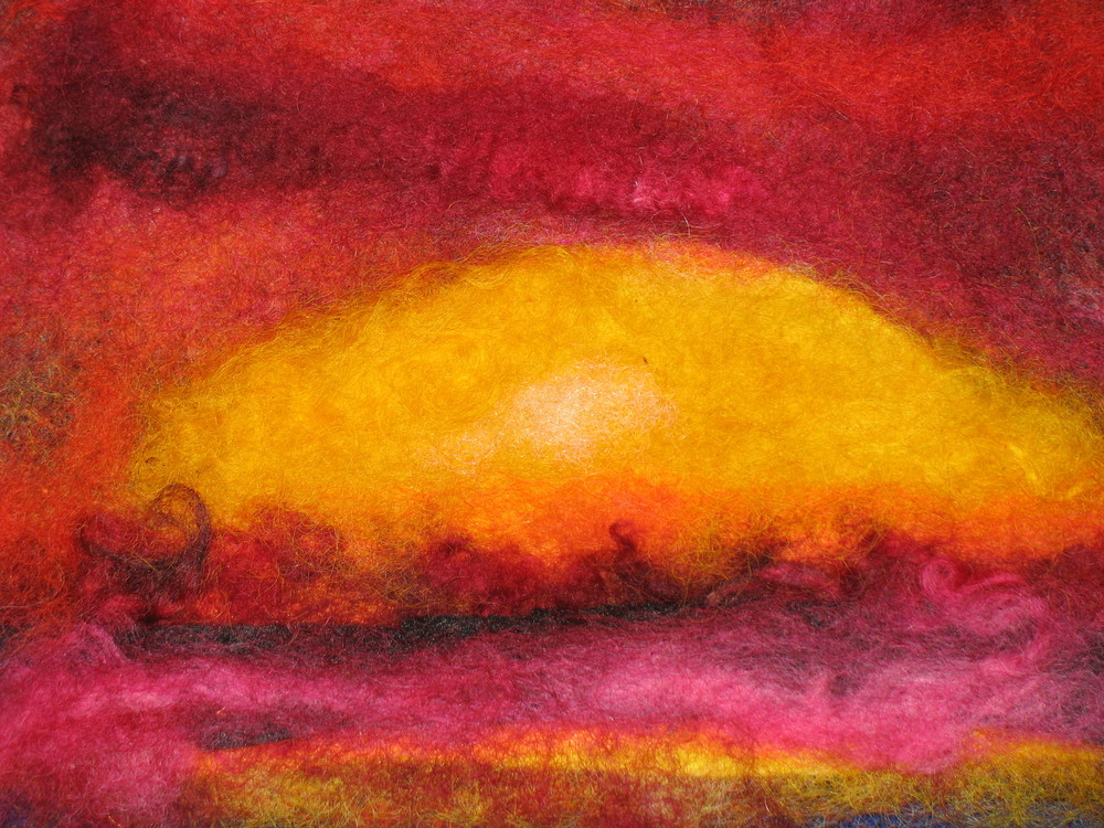 Sun Ra. Rest In Action. #2 (c) Kaitha Het Heru. 5 X 7 inches. 100% Wool Roving. Needle Felting