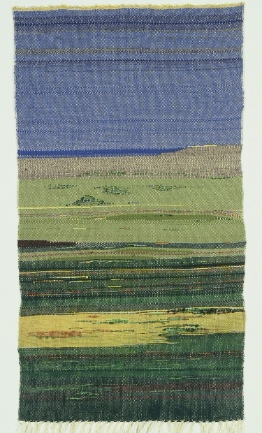 Green Fields. Blue Sky.  (c) Kaitha Het Heru. Khamit Cloth. Handwoven Shawl or Bed Throw. 100% Wool.