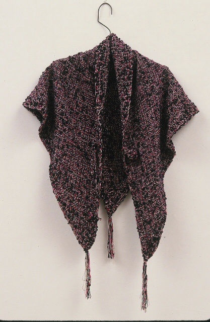 Khamit Cloth Sacred Beauty Triangle Shawl. (c) Kaitha Het Heru. Hand woven.  Custom Blend wool, boucle, metallic yarns.