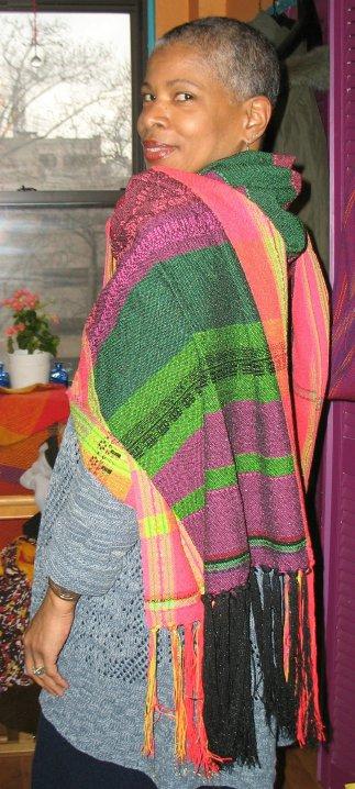 Khamit Cloth Ankh (Life) Medicine Shawl. (c) Kaitha Het Heru.  Handwoven. wool velour yarns