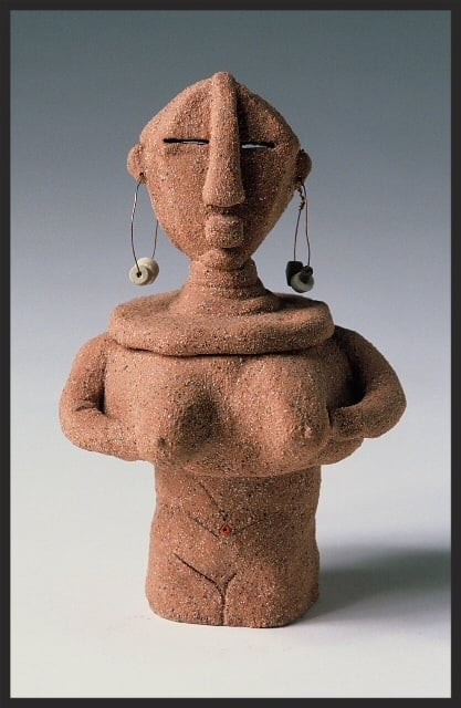 "GrandMother Earth. SHE POT Clay Sculpture. 10""H. Earthenware Clay. Kiln Fired. Adornment. SOLD."