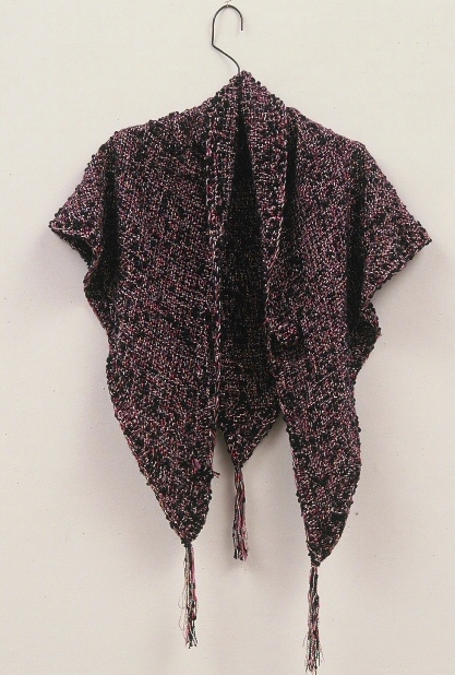 Khamit Cloth Sacred Beauty Triangle Shawl. (c) Kaitha Het Heru.  Custom Blended Wool, Boucle and Metallic Yarns. Crochet Button.  One of a Kind.