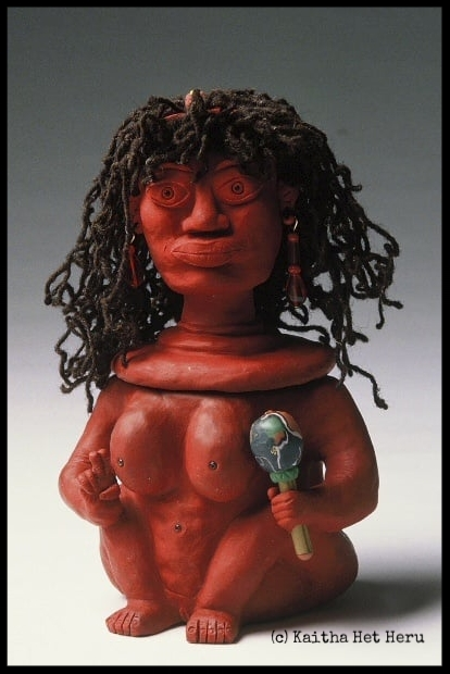 "SOURCE-ERESS TRUTH SHARER: LOVE IS THE LAW. SHE POT Clay Sculpture. (c) Kaitha Het Heru. Fimo Clay. Oven Fired. 10"". 100% Hand Spun Wool Hair.  Bead Adornments.  In private Collection.."