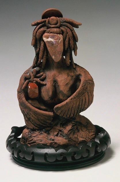 Goddess Het Heru and Child. Clay
