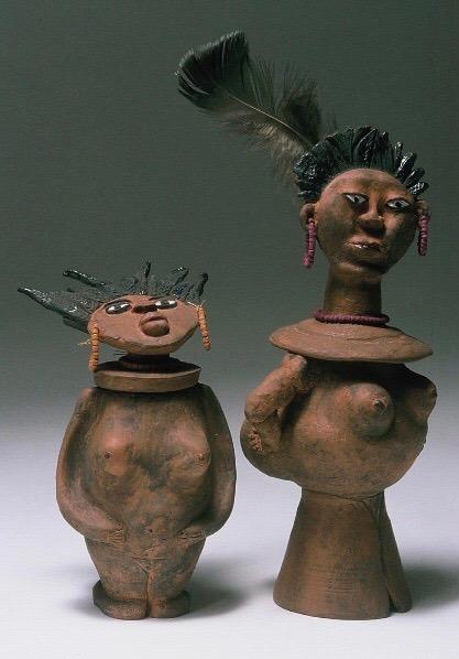 Lil' Sis, Big Sis SHE POT Clay Sculpture. (c) Kaitha Het Heru.