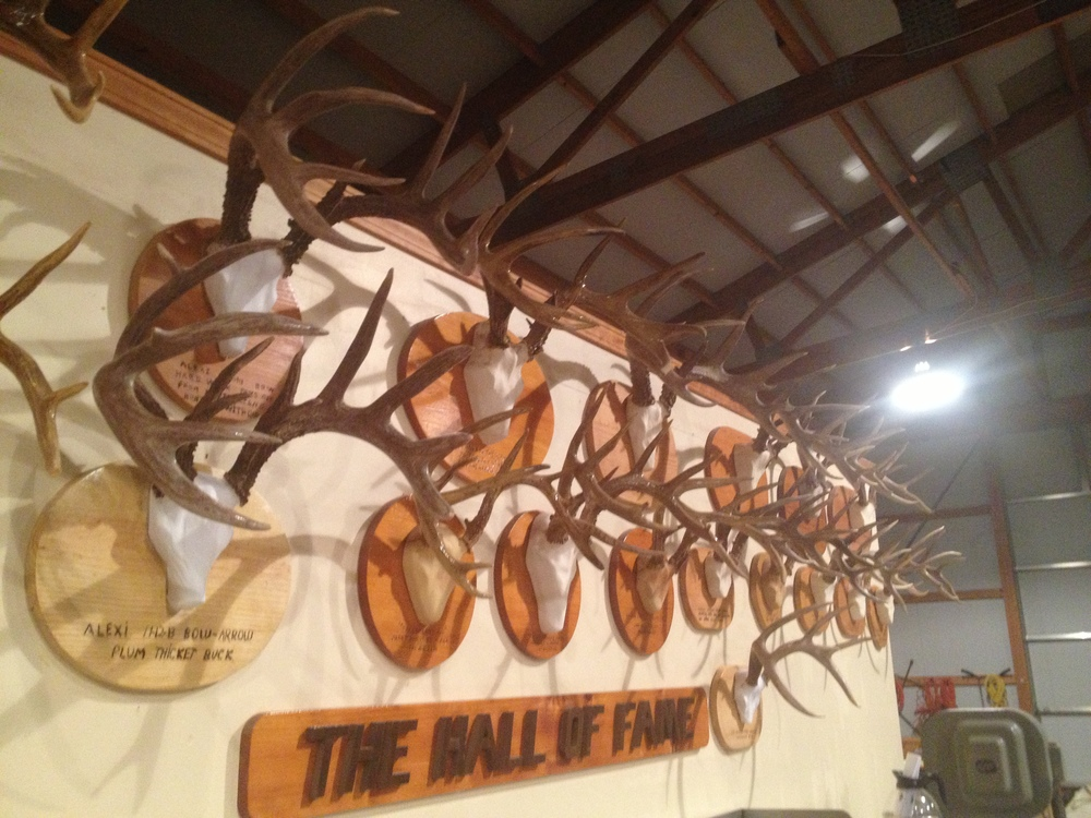 The Hall of Fame. These are all deer taken by someone in the family off of the Seven O Ranch.