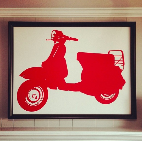 We love it when our customers get creative. Here, Francesca used our Vespa decal and installed it on a canvas and framed it. Thank you for sharing your finished project.