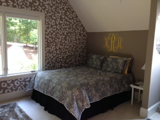 We love Patty's completed project using our Leopard print wall decal in white.  Thank you for sharing!