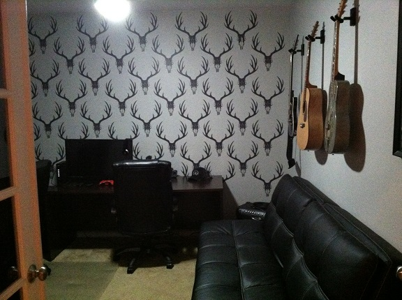 Garrett's man cave is now complete using our Euro Mount wall decals, shown here in Dark Gray.