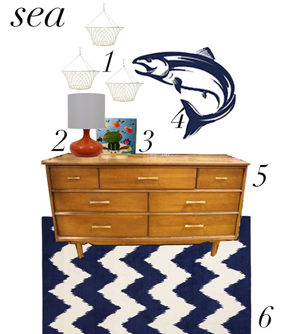 Sea collection featuring our Salmon wall decal.