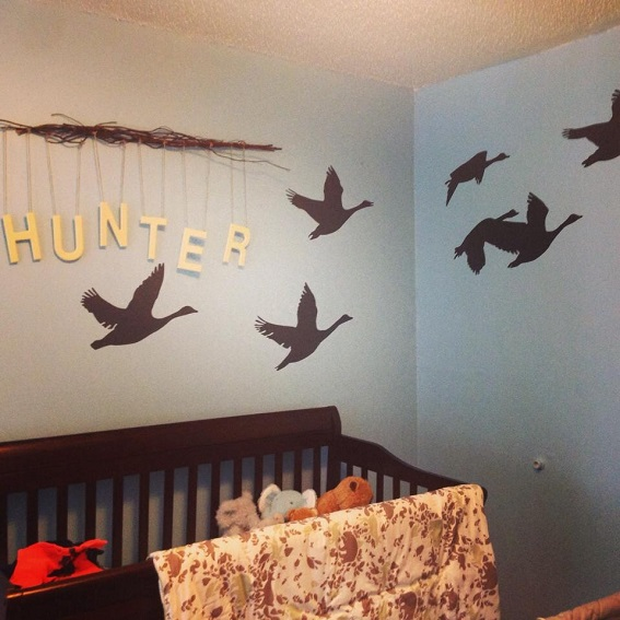 This nursery is now complete.  A big thanks to Cassie for sharing a picture of your completed project using our Geese wall decals.