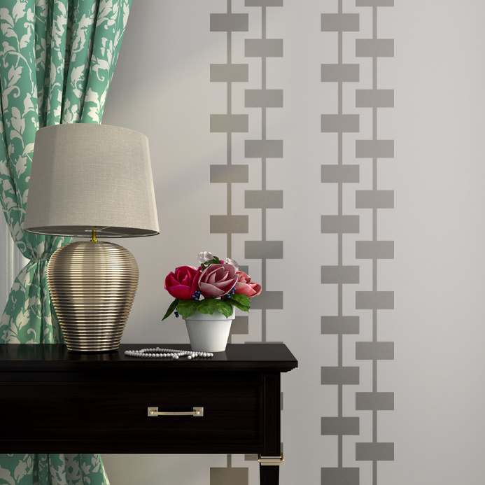Geometric Brick Wall Decals   Mid Century Modern Decor