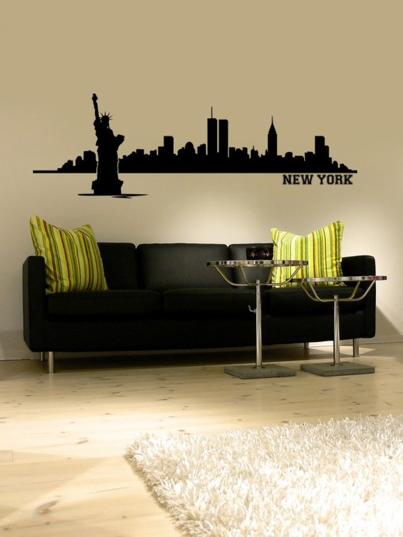 New York Skyline Statue of Liberty Wall Decal & New York Skyline Statue of Liberty Wall Decal
