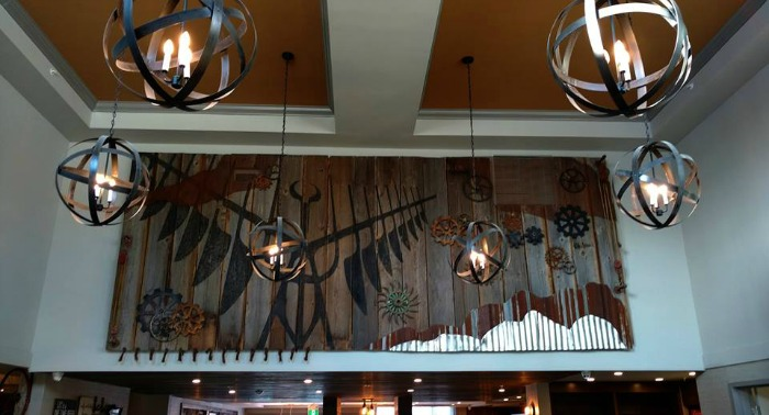 So excited to finally see our most ambitious art install to date in its new home. Made from almost 100% reclaimed materials, this piece is symbolic of the area. Made by hand, with our 4 hands. Photo credit: Four Points by Sheraton Barrie.