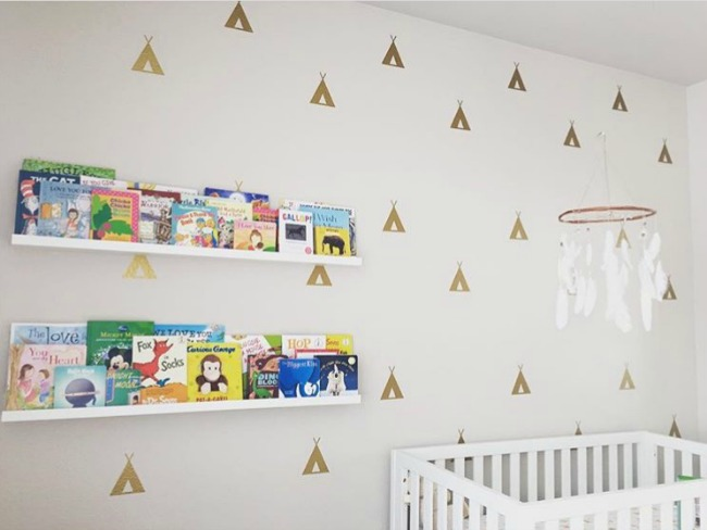 Super cute completed nursery featuring our tee pee wall decals in metallic gold. Photo credit: Merari O.