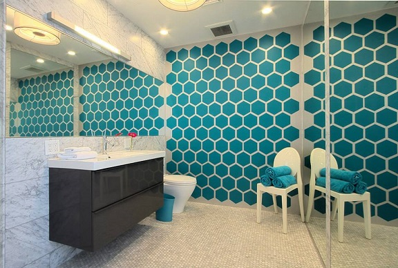 Our Honeycomb wall decal as seen in psLUX Palm Springs Luxury Vacation Rentals. (Photo credit: Keith, psLUX)