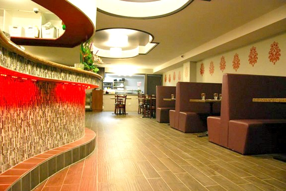 Restaurant decor featuring our damask wall decals in custom dimensions. Shown here in red. Photo credit: Asian Wok 'n' Roll.
