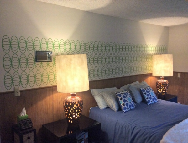 We love that our client chose to put his own spin on our stacked globe wall decals by installing them horizontally.  Shown here in lime green (comparable to Pantone's 2017 color of the year, greenery, this design is the perfect addition to this period correct Palm Springs Home.  Photo credit:  Tim L.