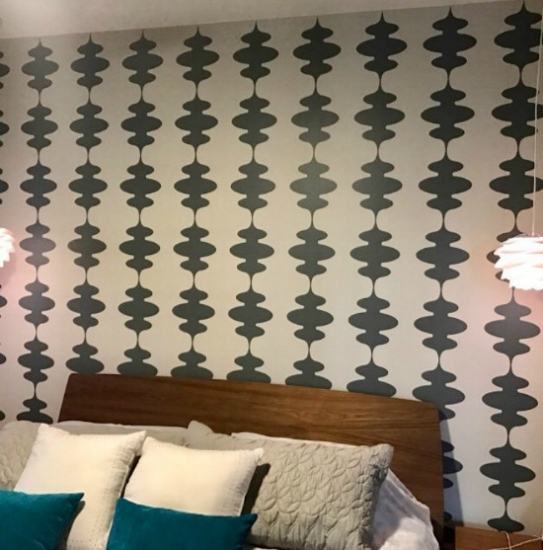 We love this bedroom refresh featuring our Mid Century Modern inspired lantern wall decor.  Photo credit:  Wendy P.