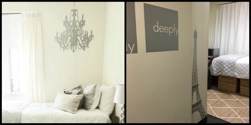 Truly Madly Deeply and Eiffel Tower wall decals, all shown here in metallic silver, puts the finishing touches on this dorm room.  A huge thank you to Ana Frances for sharing these gorgeous photos with us.