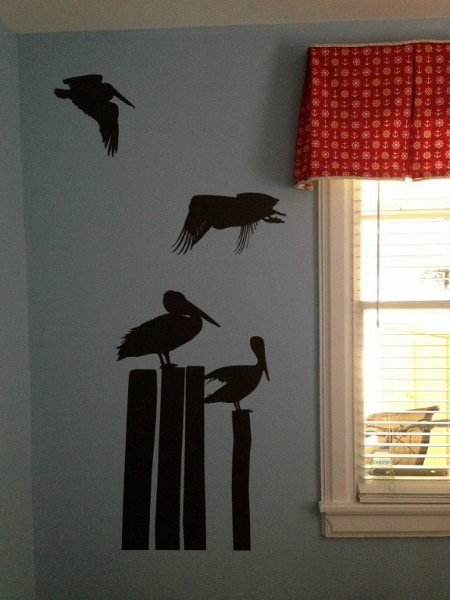 Thanks to Adam for sharing photos of their completed nursery using our Pelicans wall decal in dark brown.