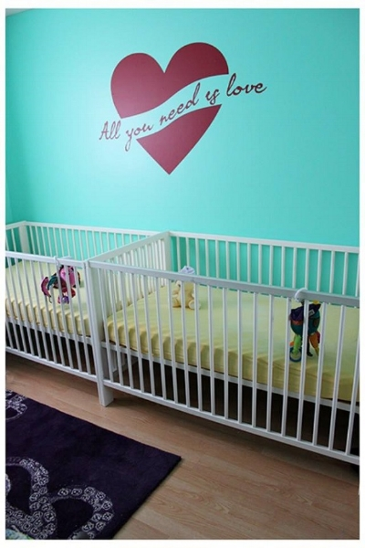 Thank you Jill for sharing the photo of your nursery using our All You Need Is Love wall decal.