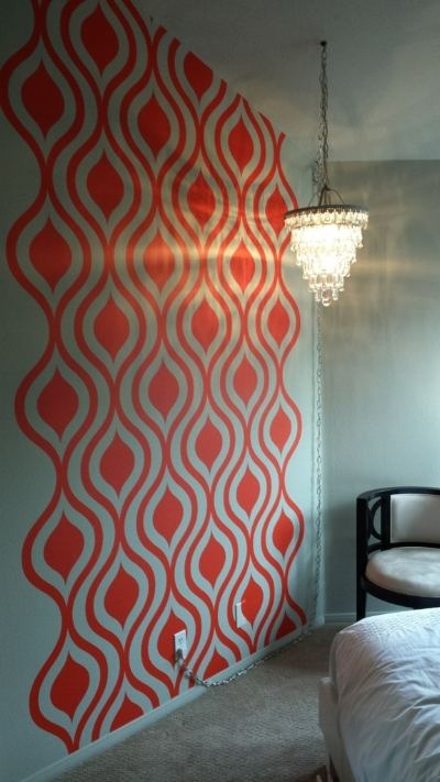 We're lovin' this completed project by Denise using our Mid Century Mod Ogee wall decals.
