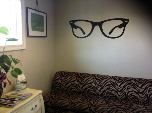 Donn'as optometrist's office added our fun Hipster Glasses wall decal for quick wall art.