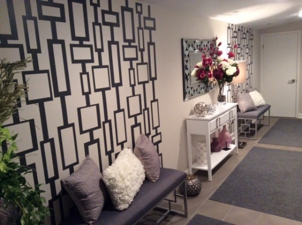 Period correct.  Our rectangle chain wall decals in black finish off this Mid Century inspired space.  Photo credit: Jay & Lani L.